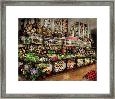 Grocery - Edward Neumann - The Produce Section 1905 Framed Print by Mike Savad