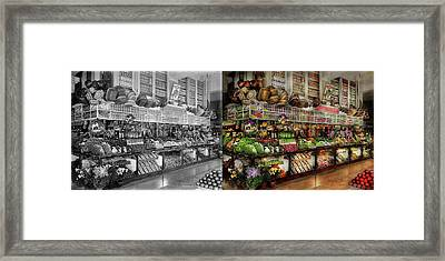 Grocery - Edward Neumann - The Produce Section 1905 Side By Side Framed Print by Mike Savad