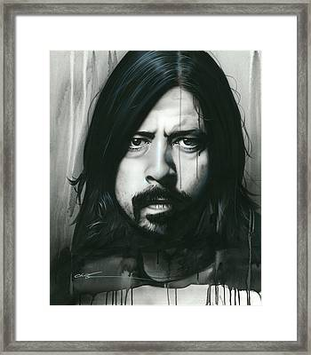 Dave Grohl - ' Grohl In Black ' Framed Print by Christian Chapman Art