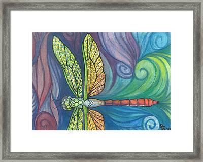 Groovy Dragonfly Spirit Framed Print by Sarah Jane