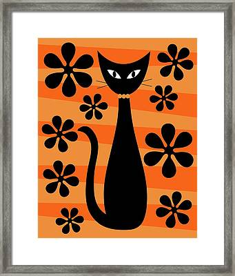 Framed Print featuring the digital art Groovy Flowers With Cat Orange And Light Orange by Donna Mibus