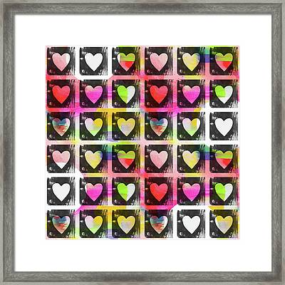 Groovy Hearts- Art By Linda Woods Framed Print