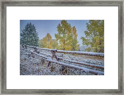 Gros Ventre Grand Teton Fall Snowfall Fence Framed Print
