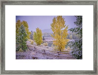 Gros Ventre Grand Teton Fall Snowfall Framed Print