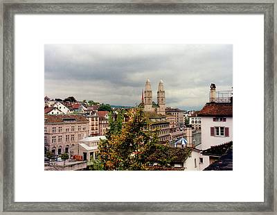 Grossmuenster Church Zurich Switzerland Framed Print
