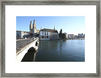 Grossmunster, Wasserkirche And Munsterbrucke - Zurich Framed Print