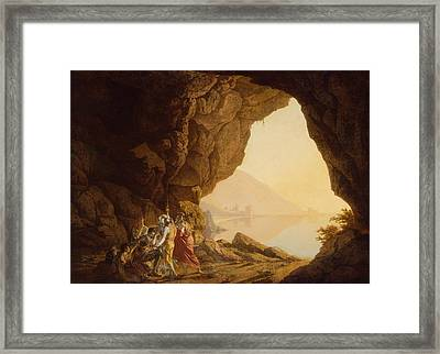 Grotto By The Seaside In The Kingdom Of Naples With Banditti, Sunset  Framed Print