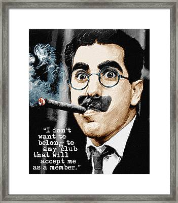 Groucho Marx And Quote Vertical  Framed Print by Tony Rubino