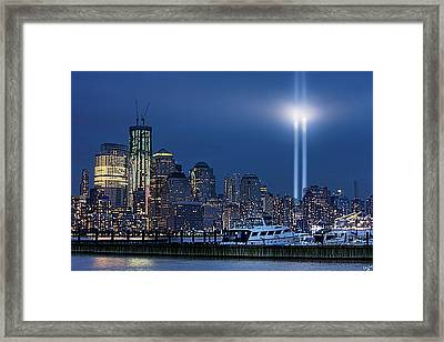 Ground Zero Tribute Lights And The Freedom Tower Framed Print