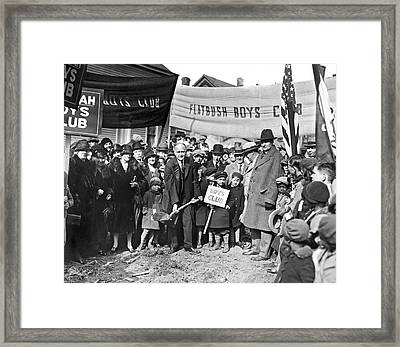 Groundbreaking Ceremony Framed Print by Underwood Archives