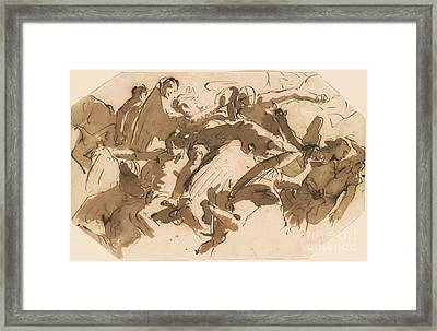 Group Of Figures On Clouds Framed Print by MotionAge Designs