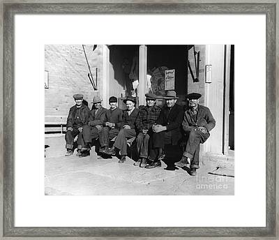 Group Of Old Men In Hats, C.1920-30s Framed Print by H. Armstrong Roberts/ClassicStock