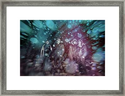 Group Of People In The Magic Snowy Night Framed Print