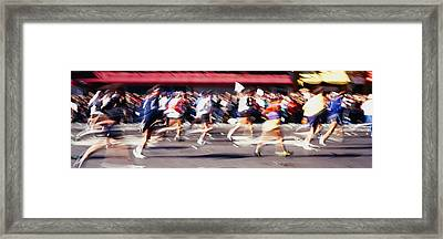 Group Of People Running, Marathon, New Framed Print by Panoramic Images