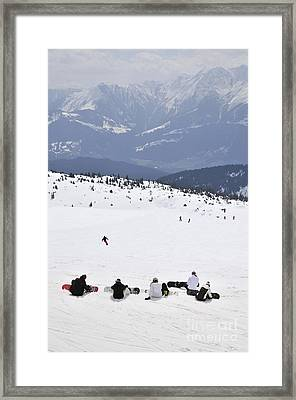 Group Of Snowboarders On The Slopes Framed Print by Andy Smy