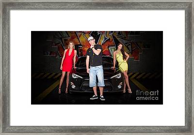 Group Of Young People Beside Black Modern Car Framed Print by Jorgo Photography - Wall Art Gallery