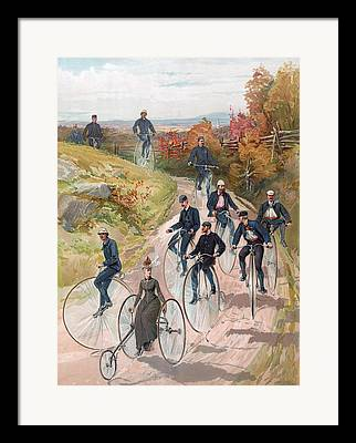Penny Farthing Paintings Framed Prints