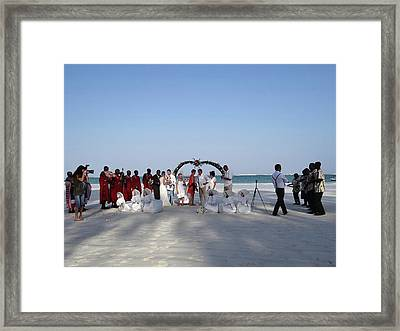 Group Wedding Photo Africa Beach Framed Print