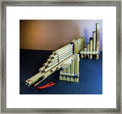 Grouping Of Pan Pipes From Various Countries Framed Print by Douglas Barnett