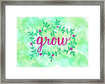 Grow Watercolor Framed Print by Michelle Eshleman