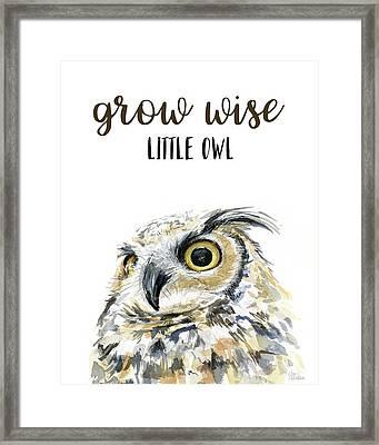 Grow Wise Little Owl Framed Print by Olga Shvartsur