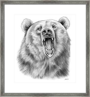 Growling Bear Framed Print by Greg Joens
