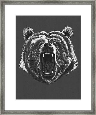 Growling Bear Framed Print