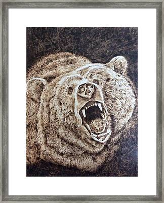 Growling Grizzly Framed Print by Sue O'Sullivan