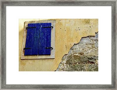 Groznjan Istrian Hill Town Stonework And Blue Shutters  - Istria, Croatia Framed Print
