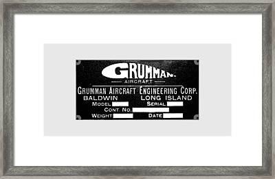Grumman Product Plate Framed Print