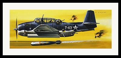 Torpedo Bomber Drawings Framed Prints