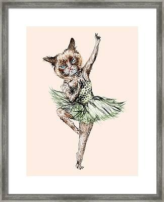 Siamese Ballerina Cat Framed Print by Notsniw Art
