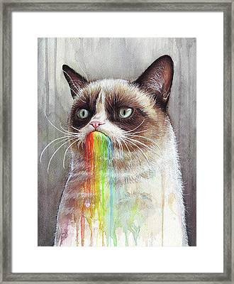Grumpy Cat Tastes The Rainbow Framed Print