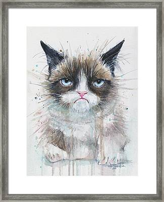 Grumpy Cat Watercolor Painting  Framed Print