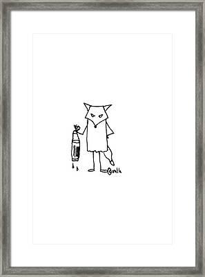 Grumpy Fox Gets The Newspaper Framed Print by Meagan Healy