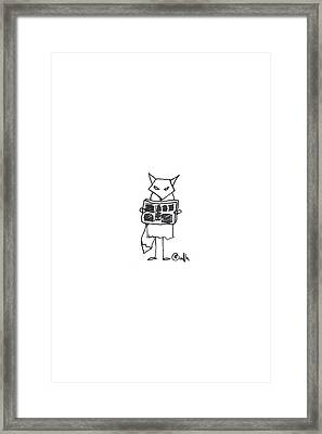 Grumpy Fox Reads The Paper Paper. Framed Print by Meagan Healy