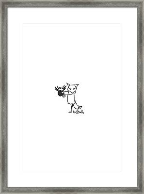 Grumpy Fox Visits His Nephew Framed Print by Meagan Healy