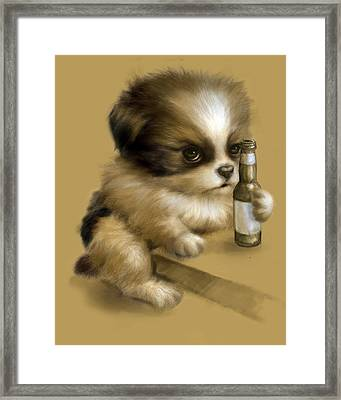 Grumpy Puppy Needs A Beer Framed Print by Vanessa Bates