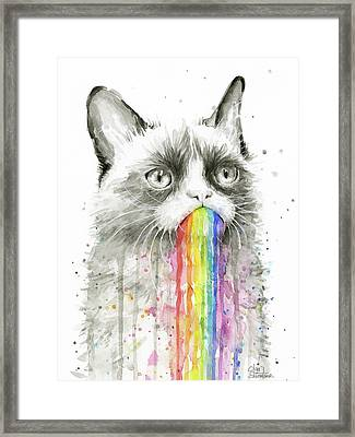 Grumpy Rainbow Cat Framed Print by Olga Shvartsur