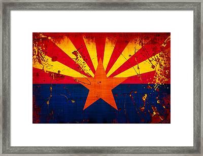 Grunge And Splatter Arizona Flag Framed Print