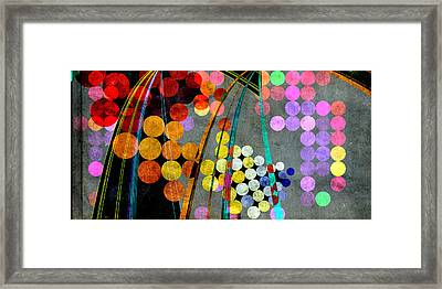 Framed Print featuring the digital art Grunge City Lights by Fran Riley