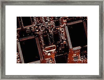 Grunge Electronic Background Framed Print