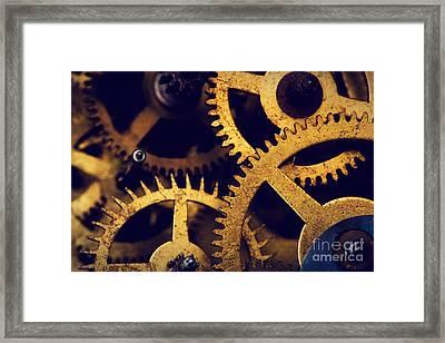Grunge Gear Cog Wheels Background Framed Print by Michal Bednarek