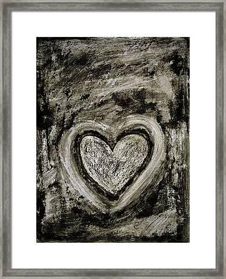 Grunge Heart Framed Print by Frank Tschakert