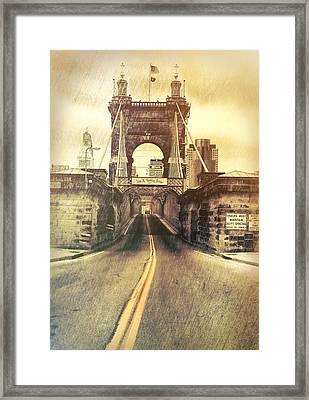 Grunge Roebling Bridge Cincinnati Framed Print by Dan Sproul