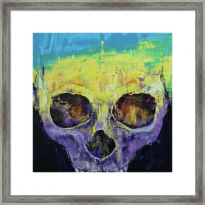 Grunge Skull Framed Print by Michael Creese