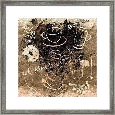 Grunge Style Coffee Art Framed Print by Serena King