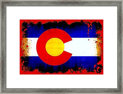 Grunge Style Colorado Flag Framed Print by David G Paul
