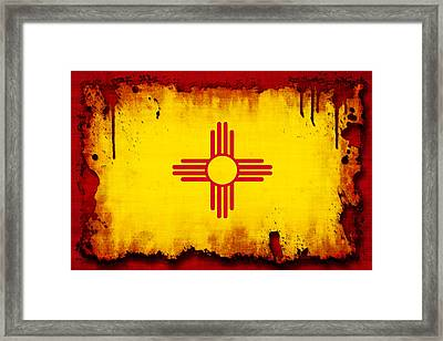 Grunge Style New Mexico Flag Framed Print by David G Paul