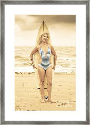 Grunge Surfer Framed Print